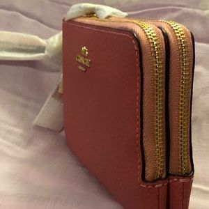 Coach Bags - COACH Double Corner Zip Peony Wallet Wristlet